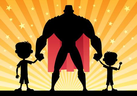 超级爸爸和他的两个儿子。
