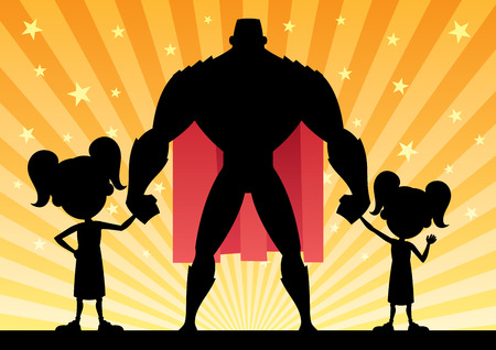 Super dad with his 2 daughters. Illustration