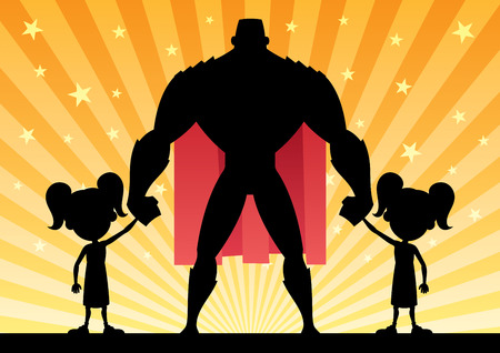 Super dad with his 2 twin daughters. Illustration