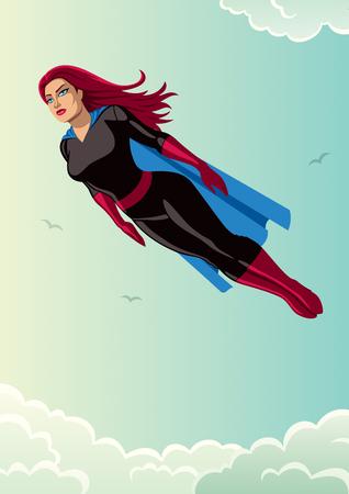Illustration of super heroine flying in the sky. Illustration