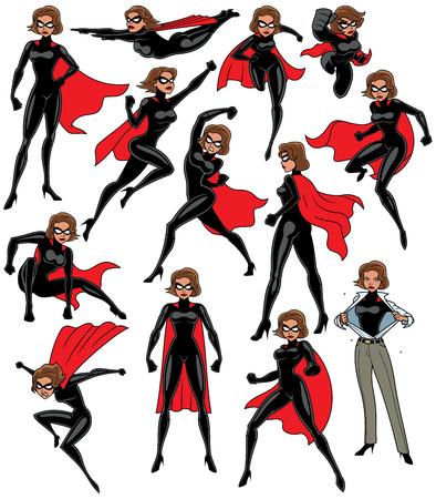 Super bohaterka na białym tle w 13 różnych pozach.