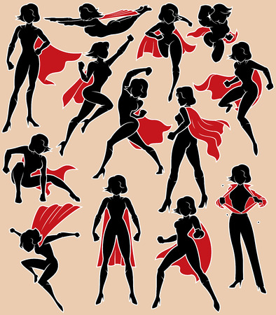 Super heroine silhouette in 13 different poses.