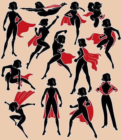Super heldin silhouet in 13 verschillende poses. Stockfoto - 82817602