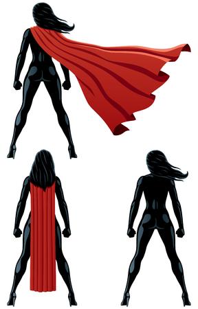 Achterkant van super heldin over witte achtergrond en in 3 versies.