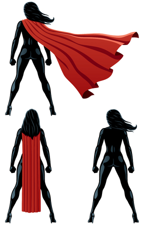 Back of super heroine over white background and in 3 versions.