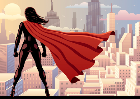 Super heroine watching over city. Illustration