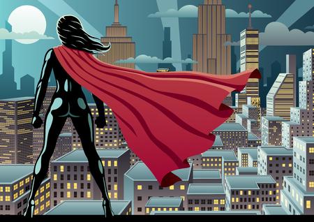 夜市を見守るのスーパー ヒーロー。
