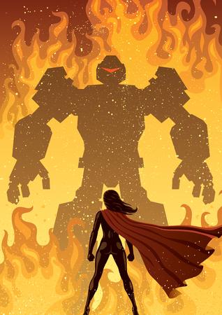 Super heldin geconfronteerd met reusachtige kwade robot.