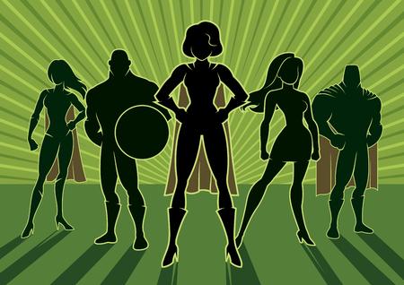 Zespół superbohaterów. Ilustracje wektorowe