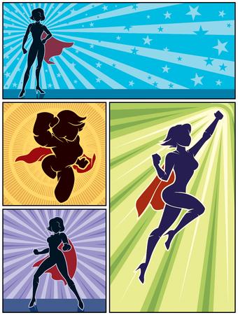 Set of 4 super heroine banners. Vectores
