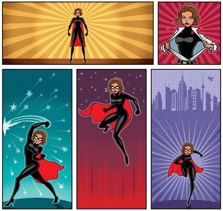 Set van 5 superheldinebanners. Stock Illustratie