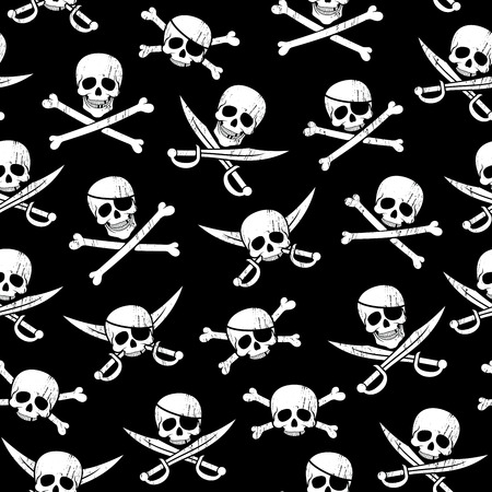 Seamless pirate pattern with Jolly Roger in different variations.
