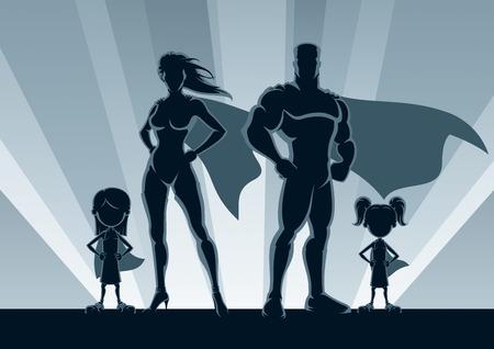Superhero family posing in front of lights. Vettoriali