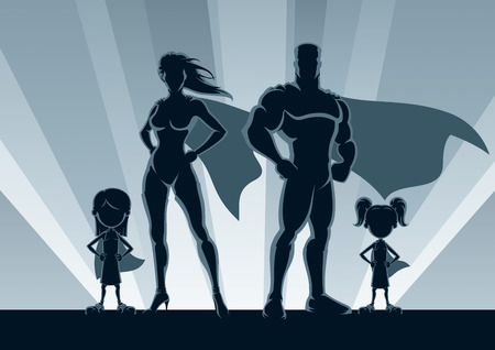Superhero family posing in front of lights. Vectores