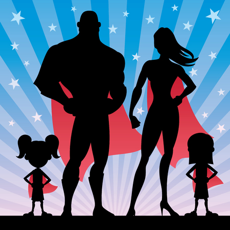 Square banner of superhero family with 2 girls. 矢量图像