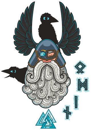 germanic: Cartoon Illustration of the Norse god Odin. Illustration