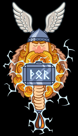 Cartoon portrait of Scandinavian god Thor over black background.