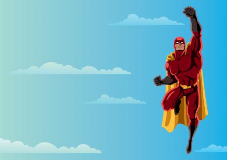 Cartoon illustration of flying superhero Illustration