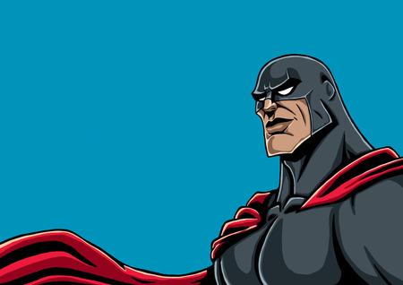 Portrait of superhero in black costume and red cape.