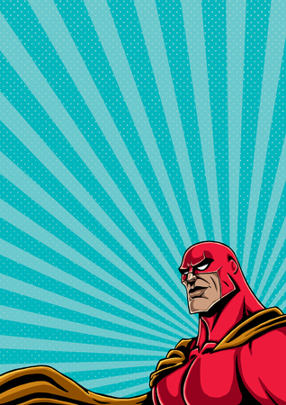 Background with superhero portrait and copy space for your text. Ilustrace