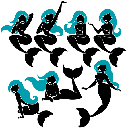 Mermaid silhouette in 7 different poses. Çizim