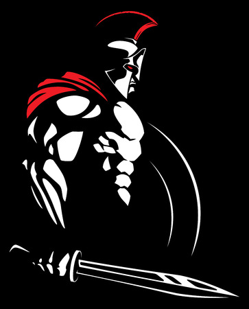 Illustration of Spartan warrior. Vectores