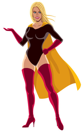 Superheroine presenting your text or product with smile.  Illustration