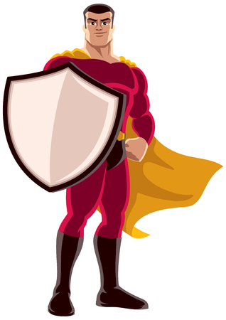 Illustration of superhero holding big shield on white background.