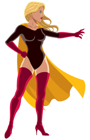Illustration of superheroine using her super power and directing it with her hand. Ilustrace