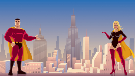Male and female superheroes presenting something, with cityscape as background.  Illustration