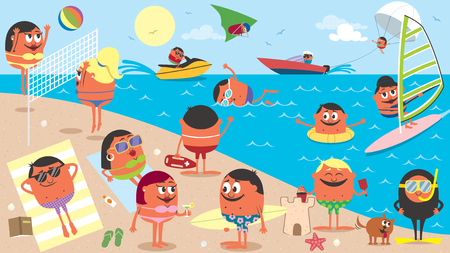 Landscape cartoon illustration of busy beach in the summer.