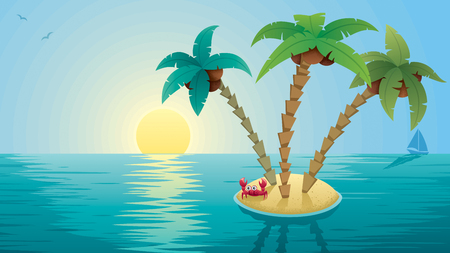 Cartoon landscape with small Tropical Island at sunrise.