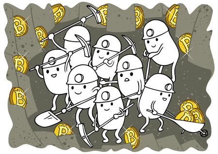 Doodle with fictional Bitcoin miners at work in 2 color versions.