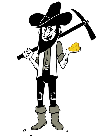 Hand drawn clip art illustration of gold digger holding gold nugget and pickaxe.