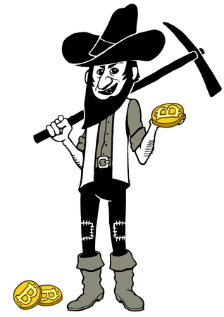 Hand drawn clip art illustration of bitcoin miner holding gold nugget and pickaxe. Stock Photo