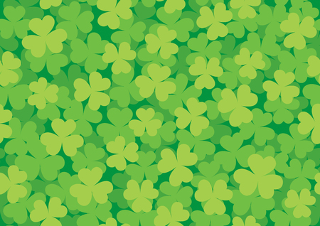Simple green seamless pattern of clover meadow illustration. Ilustracja