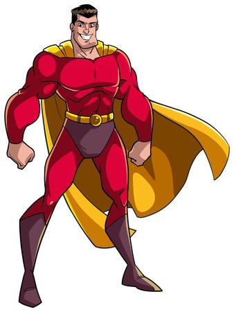 Smiling superhero standing tall on white background. Vettoriali