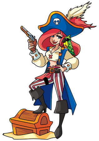 Full length funny illustration of a beautiful woman wearing pirate costume while holding a pistol against white background for copy space.