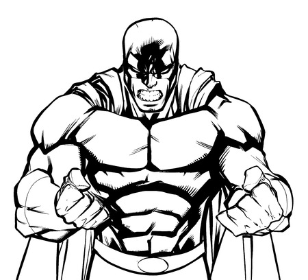 Illustration of raging superhero with clenched fists ready for battle.