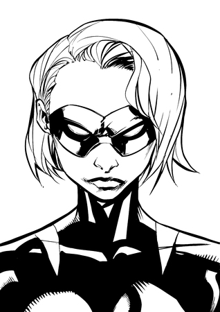 Black and white illustration of the portrait of a powerful masked superheroine looking at camera with a tough facial expression against white background for copy space.