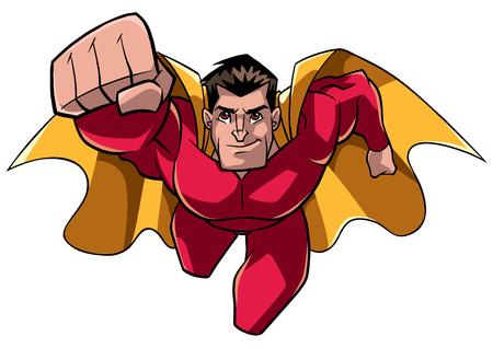 Vista frontal ilustración completa de un determinado y poderoso superhéroe con capa y traje rojo mientras vuela sobre fondo blanco para copiar el espacio