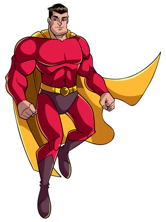 Full length illustration of a strong and brave cartoon superhero wearing cape and red costume while flying up during mission against white background for copy space.