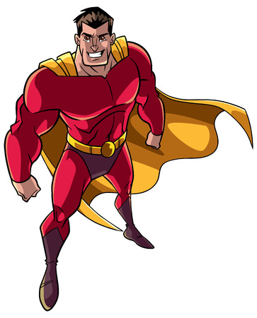 High-angle full length illustration of a powerful and determined man, wearing superhero costume during courageous intervention against white background for copy space.
