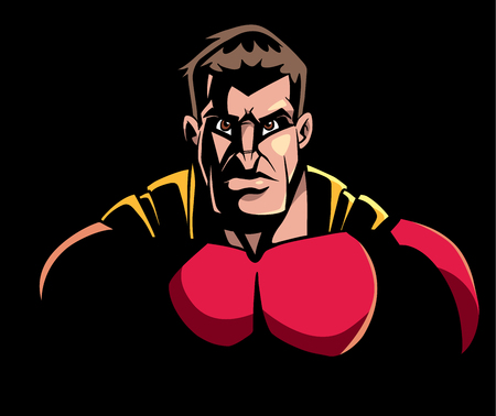 Comics style illustration of the portrait of powerful superhero looking at camera with tough facial expression on black background.