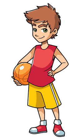 Full length illustration of a cute and active boy holding a basketball while wearing cool summer clothing outdoors against white background for copy space