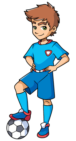 Full length illustration of a competitive boy and football player with blue uniform smiling at the beginning of a match against white background for copy space.