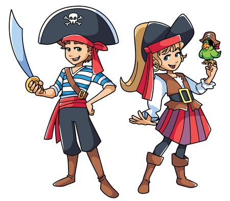 Pełna długość ilustracja dwóch uroczych i szczęśliwych dzieci w strojach piratów. Ilustracje wektorowe