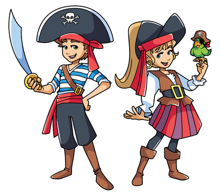 Full length illustration of two cute and happy children wearing pirate costumes.