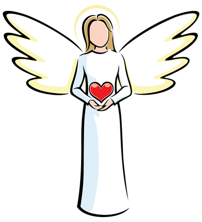 Illustration of stylized angels holding red heart. 矢量图像
