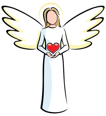 Illustration of stylized angels holding red heart. Ilustração